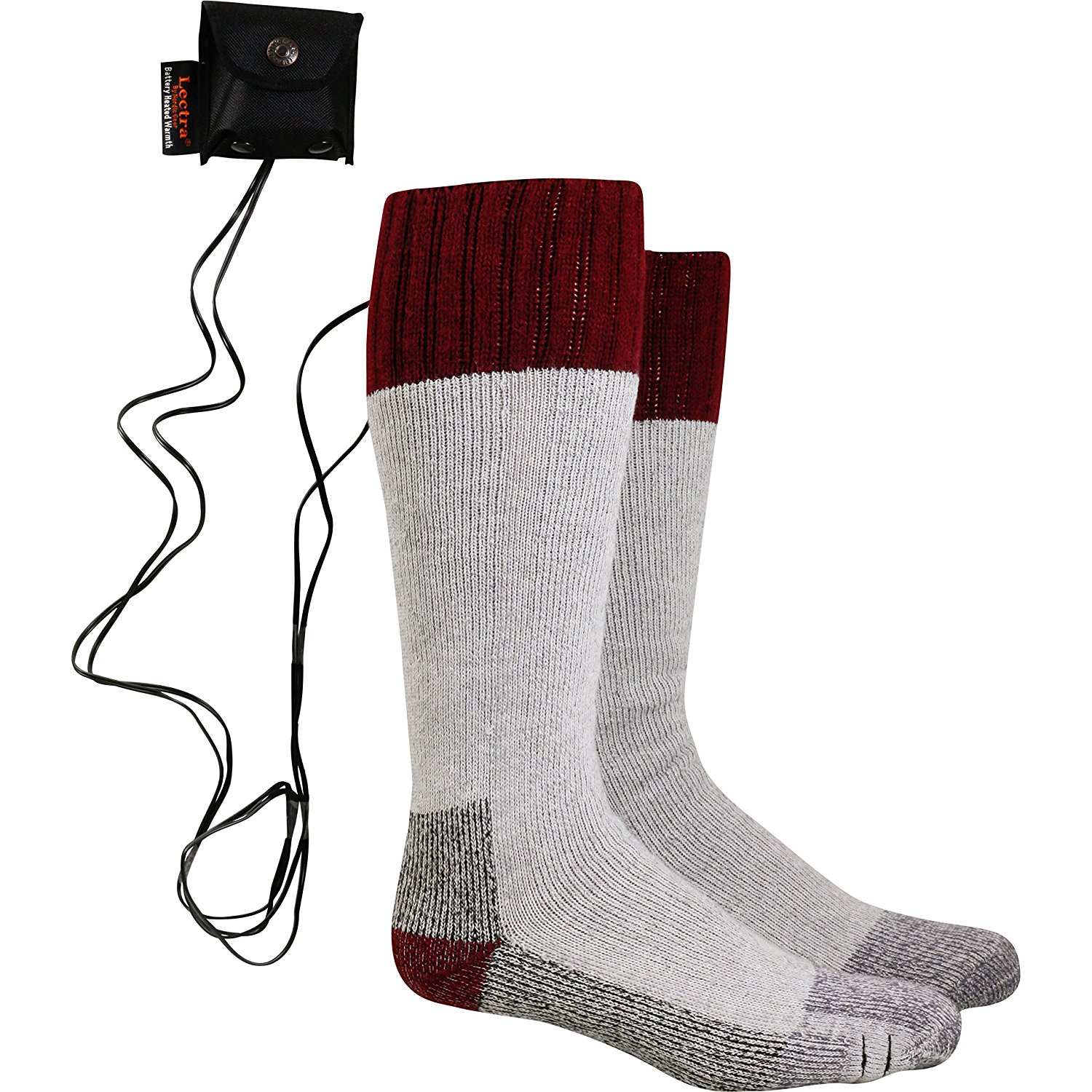 Lectra Sox Wader Socks, Electric Battery Heated Socks, Maroon