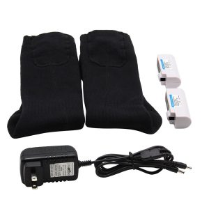 Rechargeable Battery Heated Socks Rechargeable Battery Heated Socks best for Cold Feet which could use by both Women and Men.  Health electric rechargeable battery heating warm socks (long) with two 3.7V rechargeable Li-ion batteries.  To keep you warm and comfortable all day, perfect for hiking, hunting, ice fishing, outdoor in the cold weather.