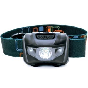 LED Headlamp - Great for Camping, Hiking, Dog Walking, and Kids. One of the Lightest (2.6 oz) Headlight. Water & Shock Resistant with Red Strobe. Duracell Batteries Included.