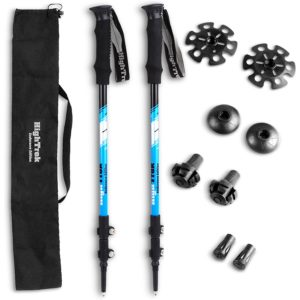 Premium Ultralight Trekking Poles w/ Sweat Absorbing EVA Grips - Your collapsible Hiking / Walking Sticks come with Tungsten Tips and Flip Locks - Enjoy the Outdoors