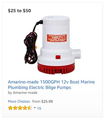 Amarine-made 1500GPH 12v Boat Marine Plumbing Electric Bilge Pumps