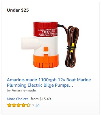 Amarine-made 1100gph 12v Boat Marine Plumbing Electric Bilge Pumps