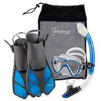 Seavenger Diving Dry Top Snorkel Set with Trek Fin